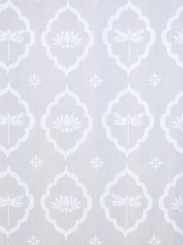 white dragonfly and lotus window treatments