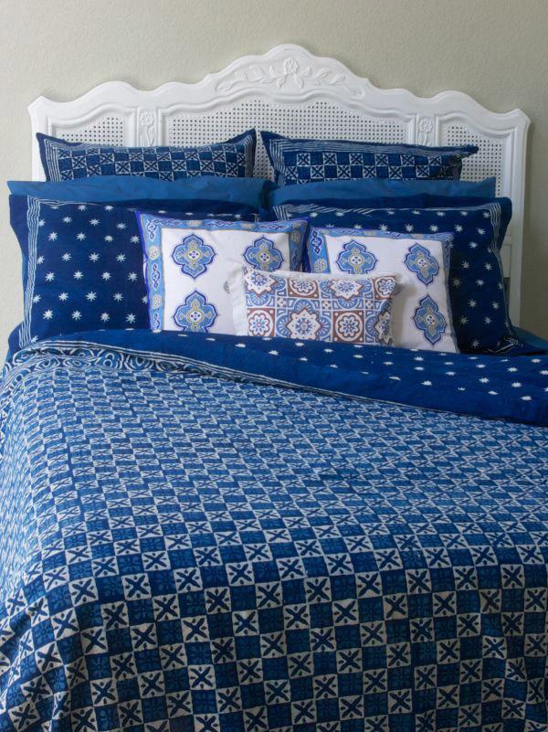 indigo blue batik duvet cover, fair trade