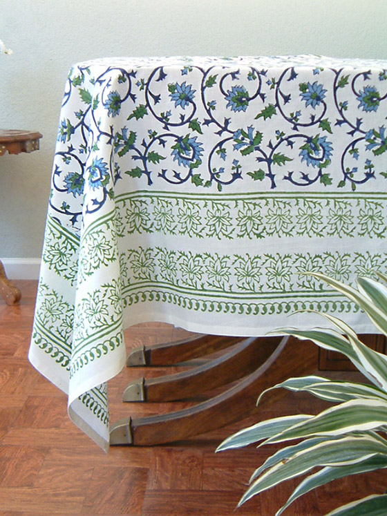 Summer tablecloth in blue on white, floral, India inspired