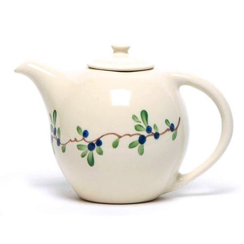 country cottage style teapot with blueberries and leaves