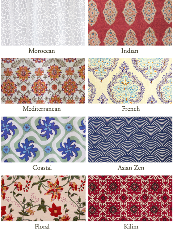 A collection of block print linens and their swatches