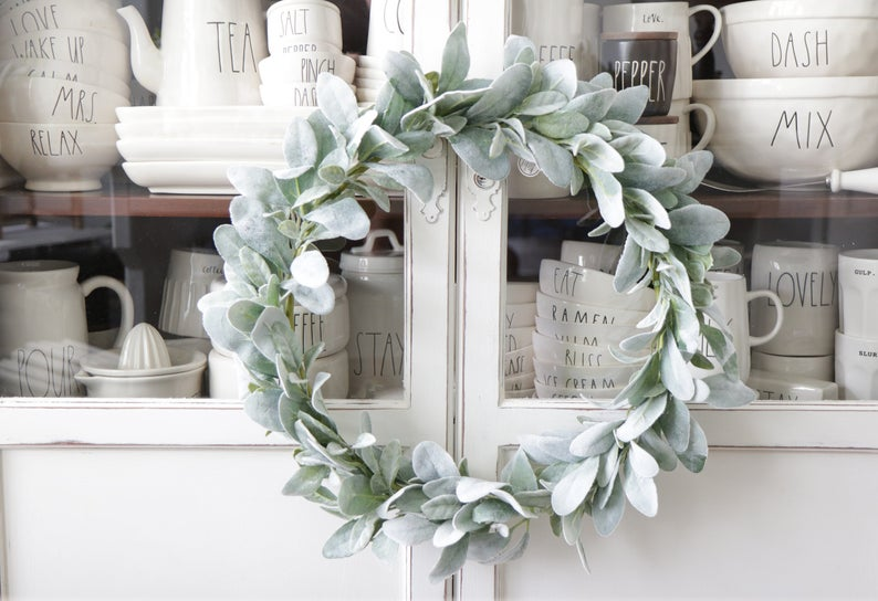 lamb's ear wreath for country cottage style