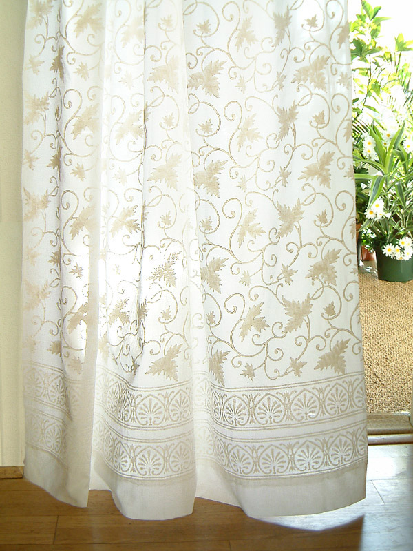 white sheer curtains with pattern
