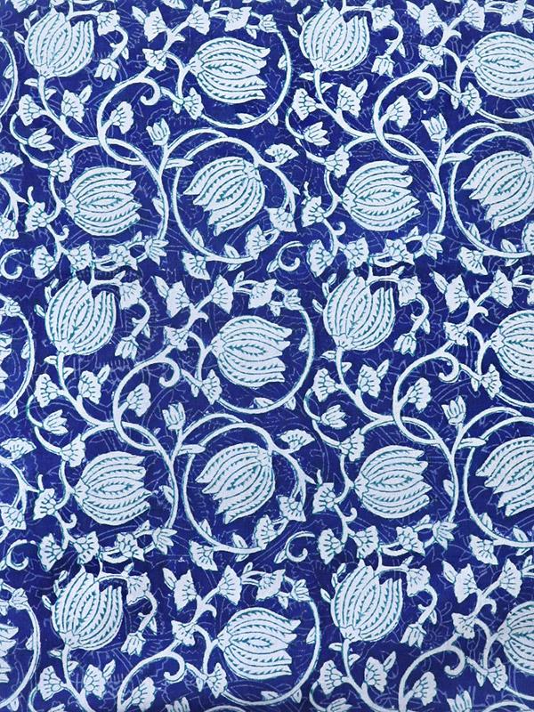 blue and white flowering vine pattern botanical print fabric