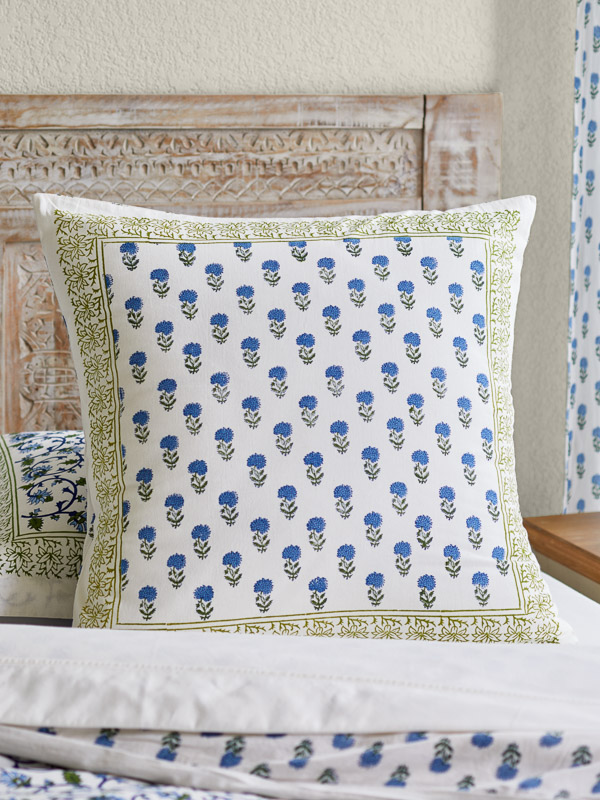 throw pillow covers with blue floral pattern