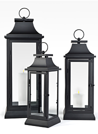 black lanterns for a room styled in country cottage style