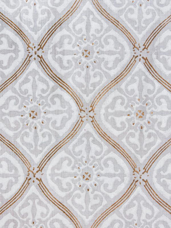 Vanilla Glace ~ White Fabric Swatch with Lattice Print
