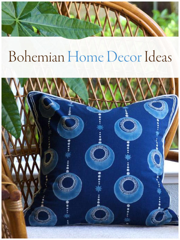 blue boho pillow on wicker chair with banner saying bohemian home decor ideas