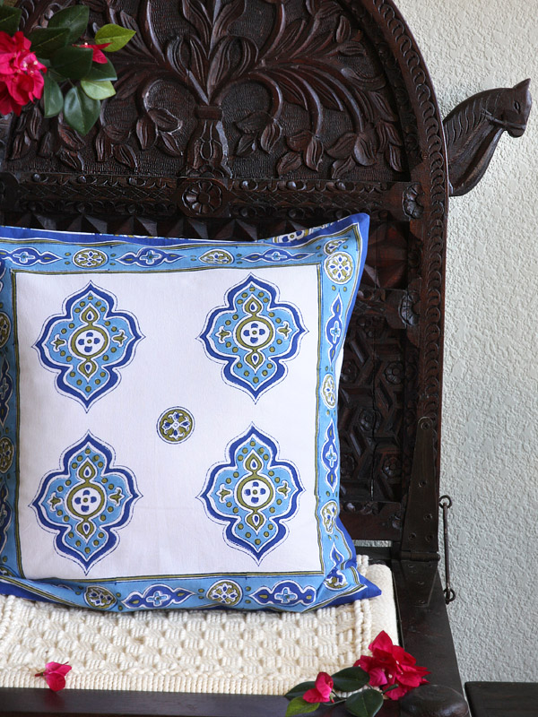 Moroccan throw pillow in blue and white