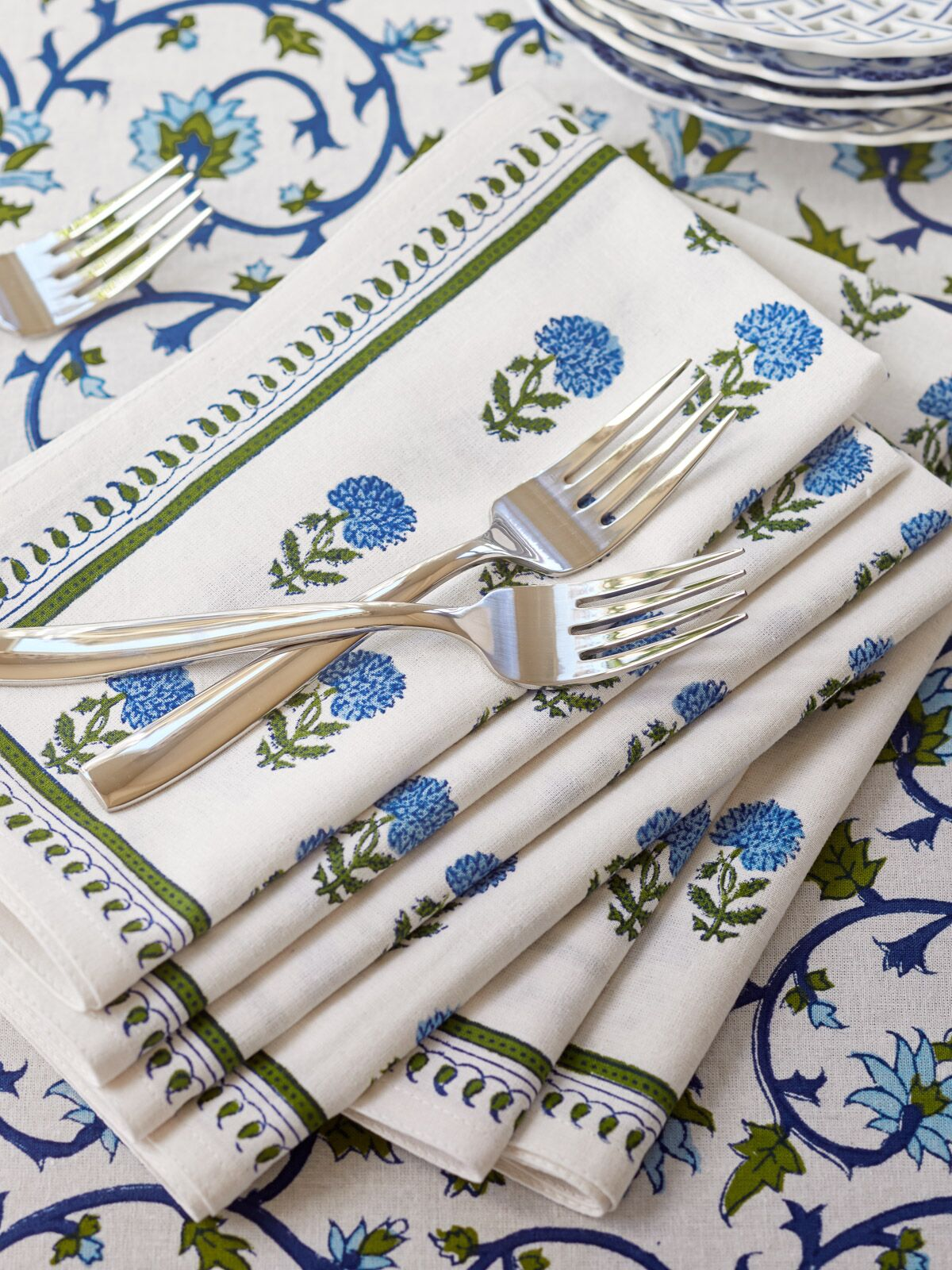 floral print cloth napkins white green and blue