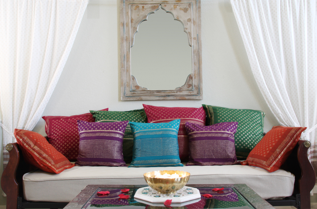 Indian block print pillows and curtains
