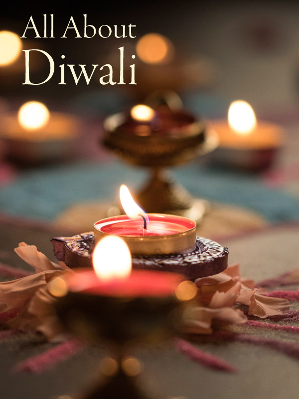 Diwali candles, marigolds, and table