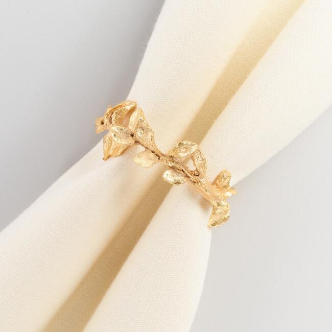 Gold Leaf Napkin Ring Set