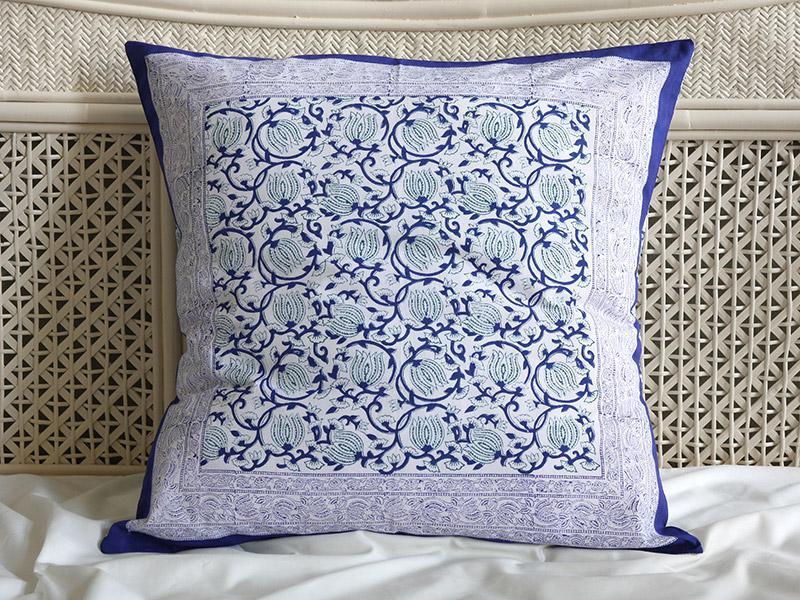 blue and white flowering vine pattern botanical print pillows