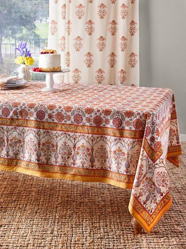 Orange Blossom rectangular tablecloth from Saffron Marigold
