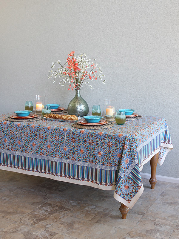 moroccan blue tile print tablecloth main