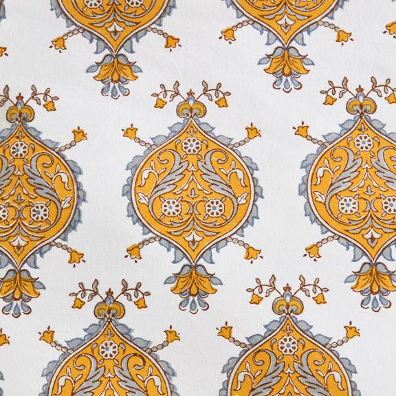yellow and grey and white medallion print fabric