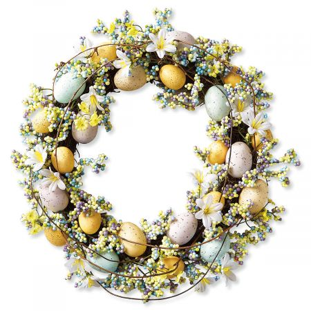 easter egg wreath with yellow, white, pale pink, and pale teal eggs from Lillian Vernon