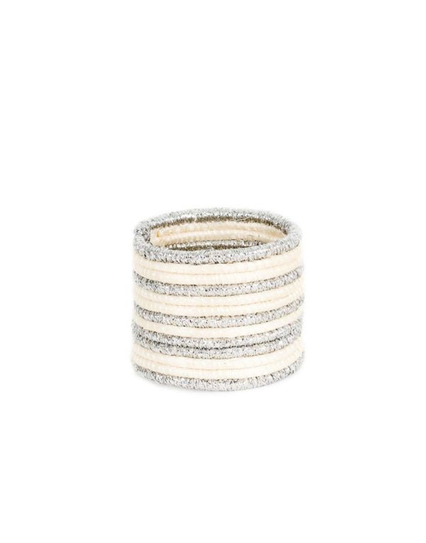 fair trade white and silver napkin ring from the little market