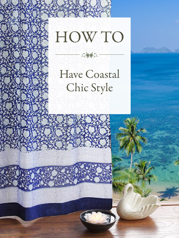 Elegant coastal decor in a blue floral curtain that pulls aside to reveal a spectacular tropical ocean scene.