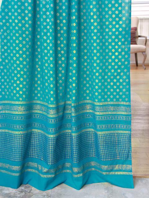 teal curtains with gold sari Indian print