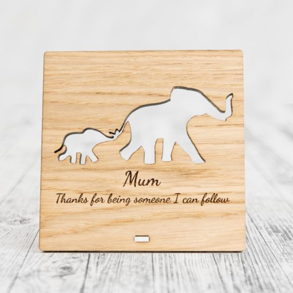 wood carved personal meaningful Mother's day gifts with elephants