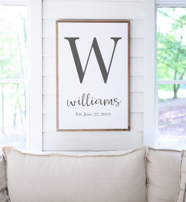 custom monogram sign with W as an example of meaningful Mother's day gifts