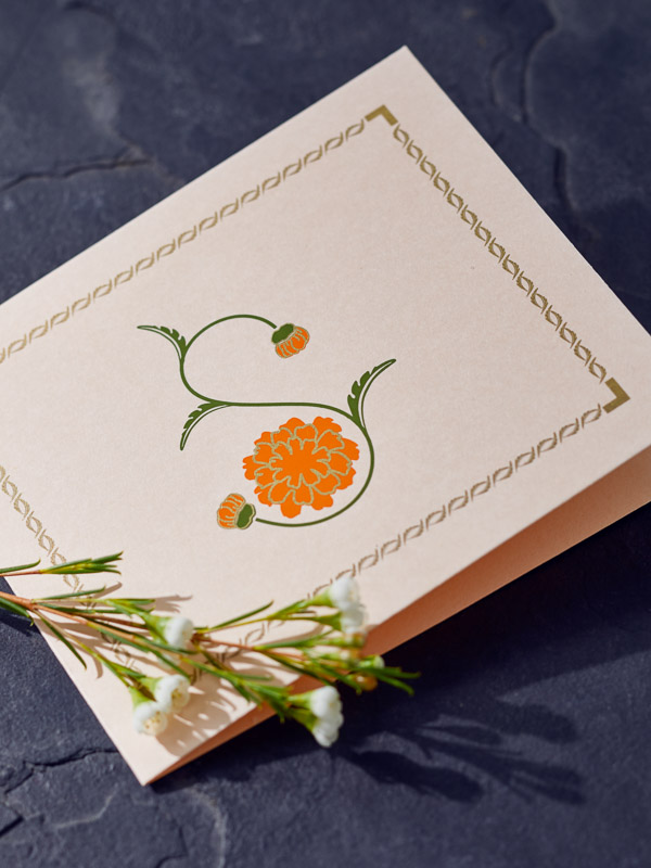 A Saffron Marigold gift card for buying fair trade block print linens