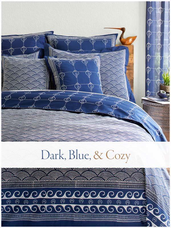 dark blue duvet cover in a cozy bedroom
