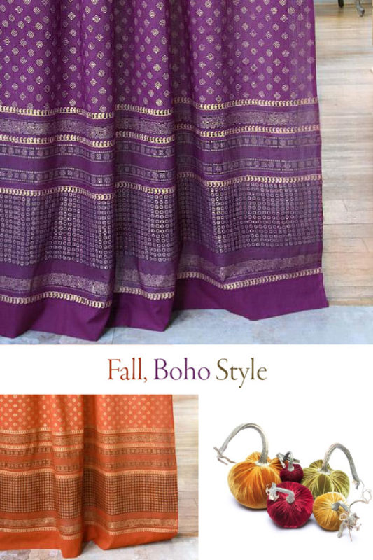purple curtains and fall boho style decor collage