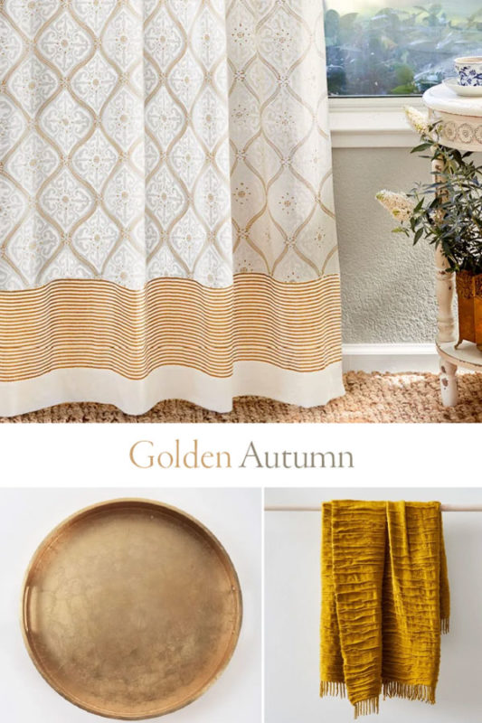 glam gold fall decor collage