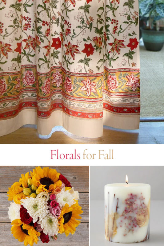 floral curtains, bouquet, and fall floral print candle