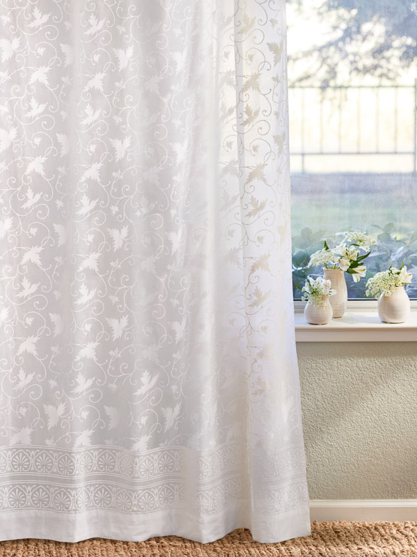Country Cottage Sheer White Curtain Panel