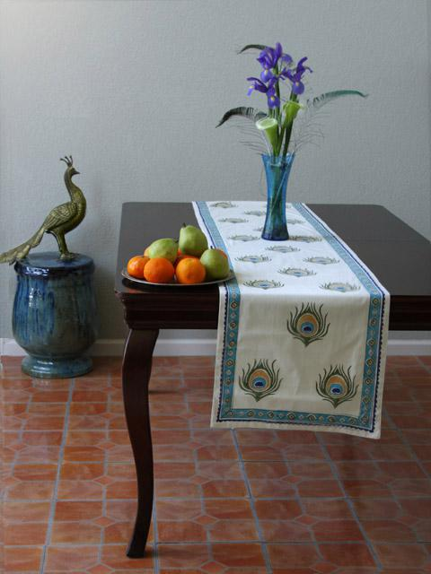Dance O Peacock ~ Ivory Peacock Feather Elegant Table Runner