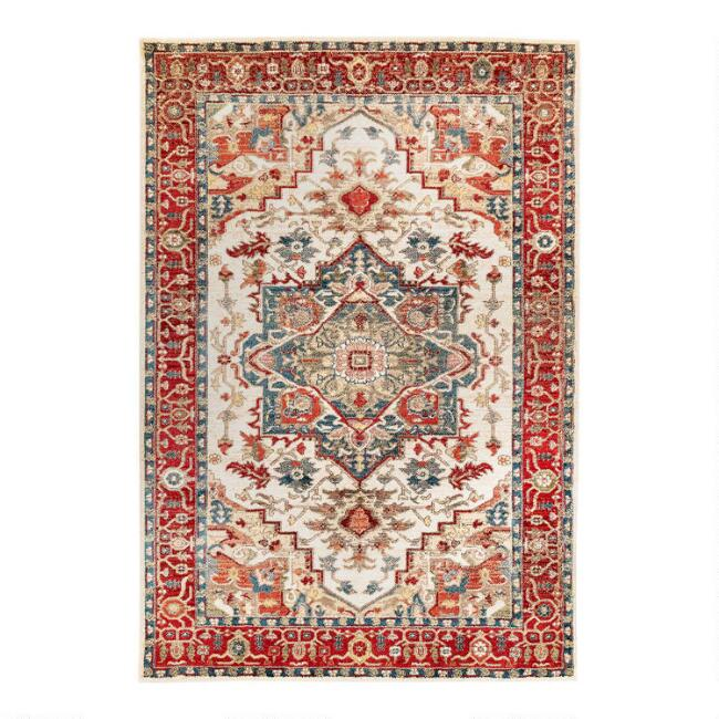 Ivory And Spice Red Medallion Area Rug