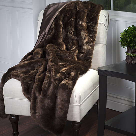 Lavish Home Luxury Long Haired Faux Fur Throw - Brown