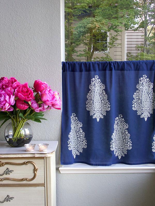 Modern Navy Blue White Paisley Kitchen Curtain