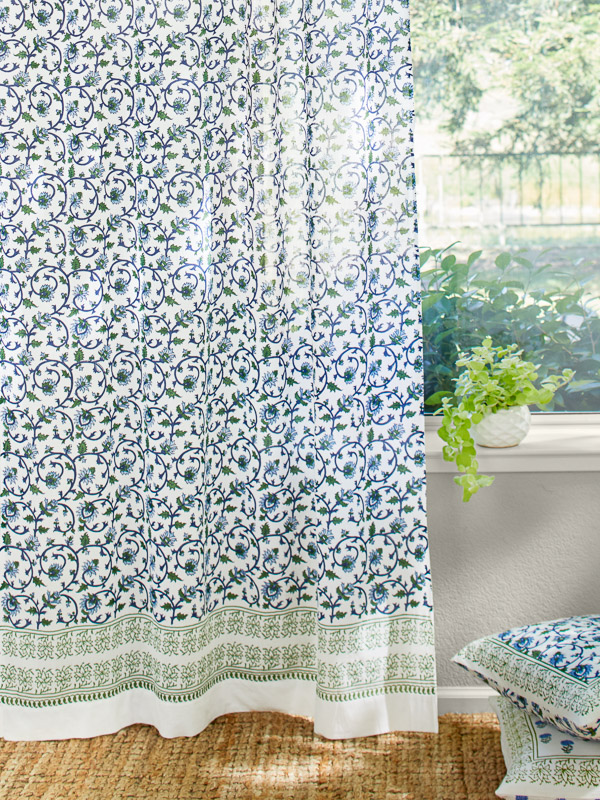 blue and white floral curtains ~ floral print