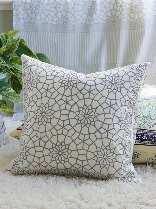 Moroccan Gray Trellis Toss Cushion Cover