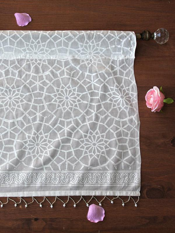 White farmhouse curtains white valance with moroccan print