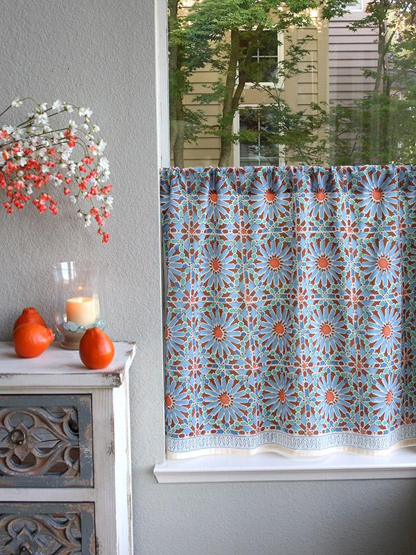 Moroccan Tile Blue Kitchen Curtain