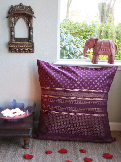 Mystic Amethyst (CP) ~ Plum Purple & Gold Sari India Euro Sham