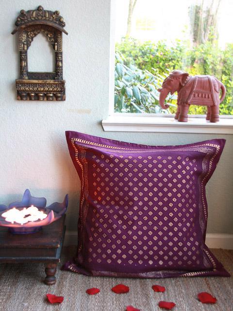 Mystic Amethyst ~ Plum Purple & Gold Sari Print India Euro Sham