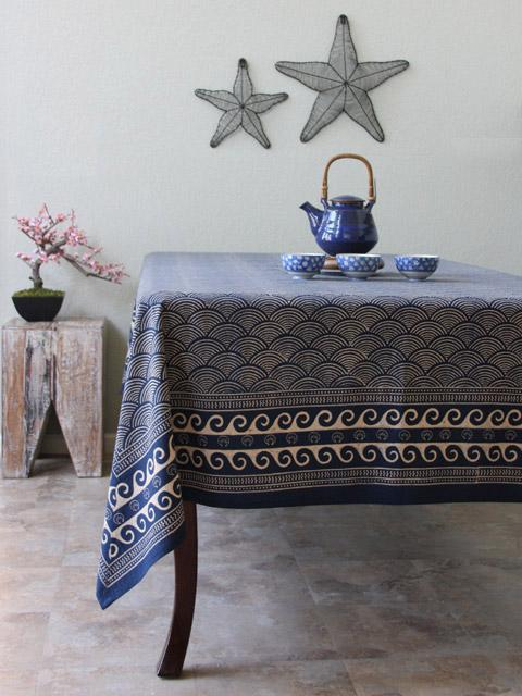 Ocean Inspired Asian Navy Blue Tablecloth