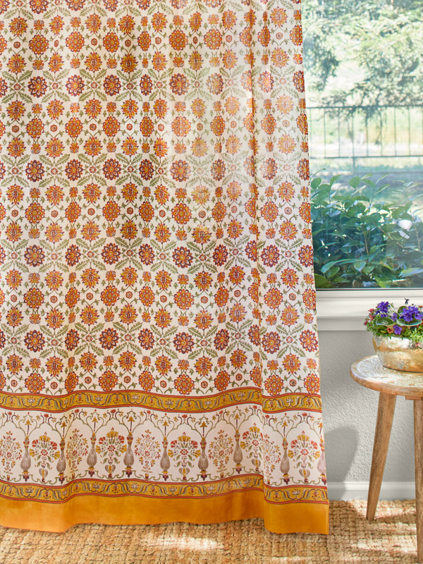 orange curtains ~ floral print ~ orange floral curtains