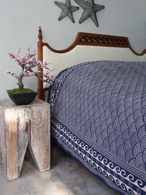 Pacific Blue ~ Asia Inspired Ocean Navy Blue Bedspread