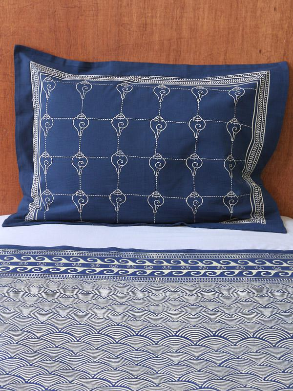 Pacific Blue (CP) ~ Rustic Navy Blue Ocean Oriental Pillow Sham