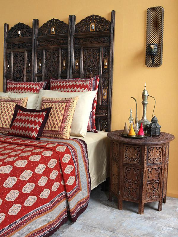 Red Orange Moroccan Quilted Bedspread