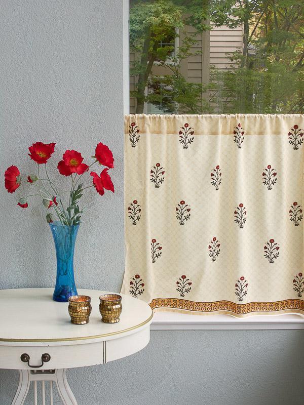 Elegant Indian Flower Print Kitchen Curtain