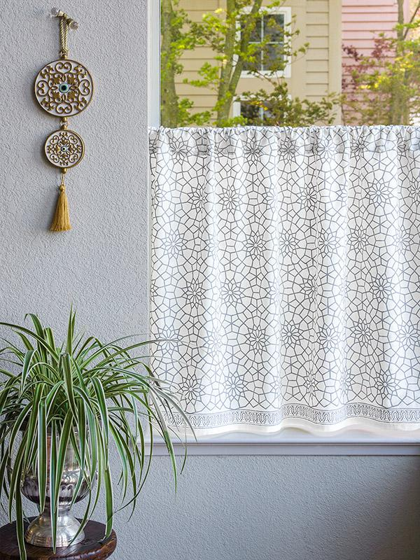 Moroccan Gray Trellis Kitchen Curtain